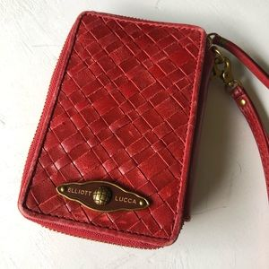 Elliott Lucca EUC Red woven wrislet leather clutch